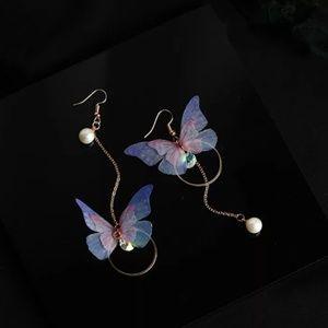 Iridescent Butterfly Wings Drop Earrings